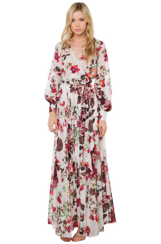 AKIRA&-39-s Soulmate White Floral Maxi Dress- featuring a plunging ...