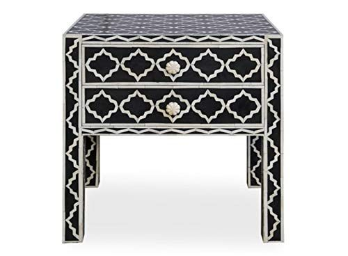 Bone Inlay Moroccan Bone Inlay Bedside Table With 2 Drawers In