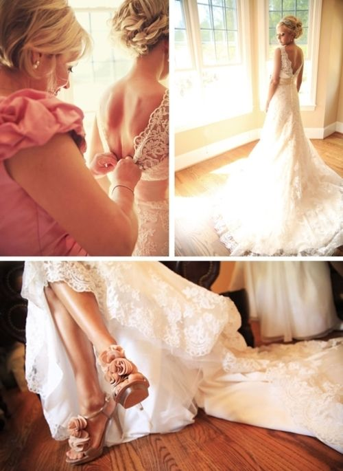 the most beautiful wedding dress ever ! high-low lace wedding dress with braid up-do and rose heels