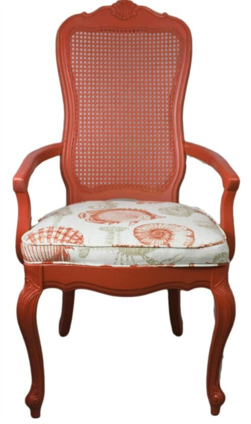 Chair Makeover In Coral And Upholstered With A Shell