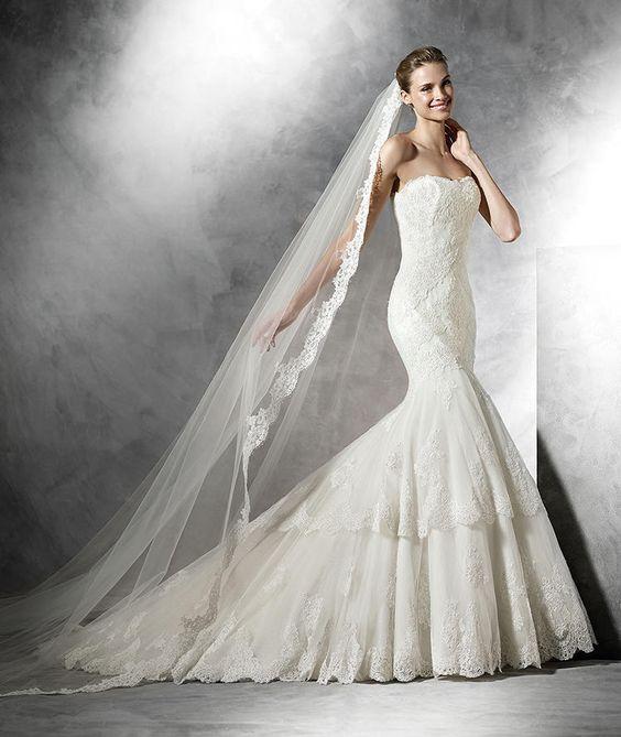 BARQUILLA - Vestido de noiva com decote em coração, estilo sereia | Pronovias