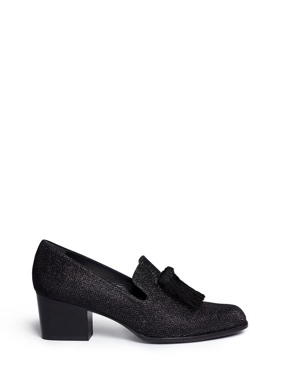 STUART WEITZMAN 'Razmataz' Tassel Glitter Mesh Loafers. #stuartweitzman #shoes #flats