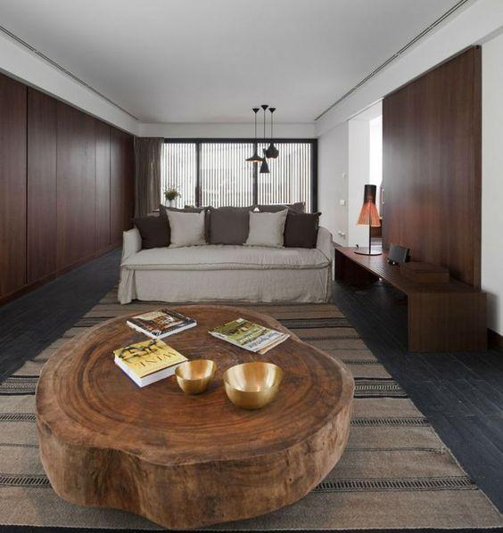 mesa de centro tronco de árvore