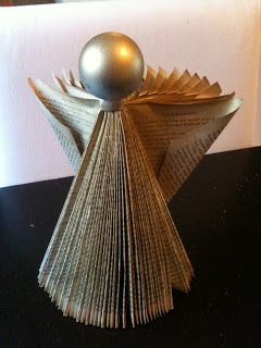 Paperback Angel and Christmas tree from an old book. So easy the kids can do it! Pick up books from thrift stores and kids can make some great presents.: