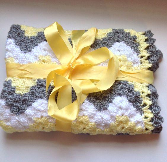 Crochet baby blanket, chevron baby blanket, handmade crochet blanket, vintage chevron blanket, gray yellow chevron, baby shower gift, unisex by ndolceshop on Etsy https://www.etsy.com/listing/261613086/crochet-baby-blanket-chevron-baby