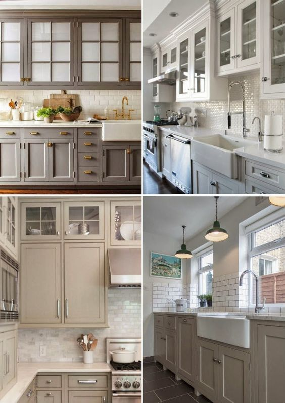 love the first kitchen with the taupe cabinets!