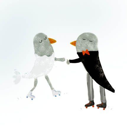 skating birds