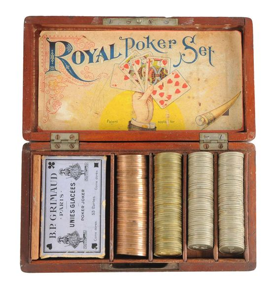 Royal Poker Set With Nickel, Brass, & Copper Chips