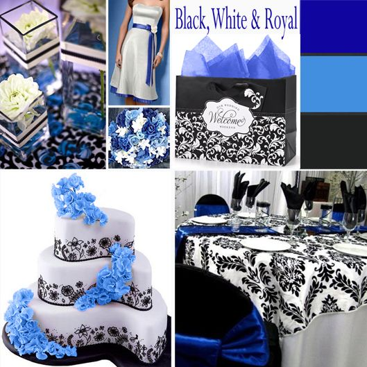 Royal Blue Black And White Wedding