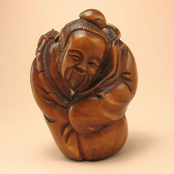 Boxwood Handicraft Wood Netsuke OLDMAN