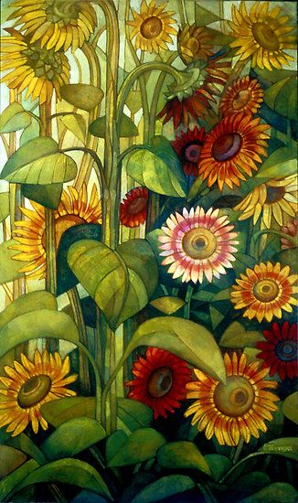 sunflowers - tempera and watersoluble pencils on mdf  by Elisabetta Trevisan