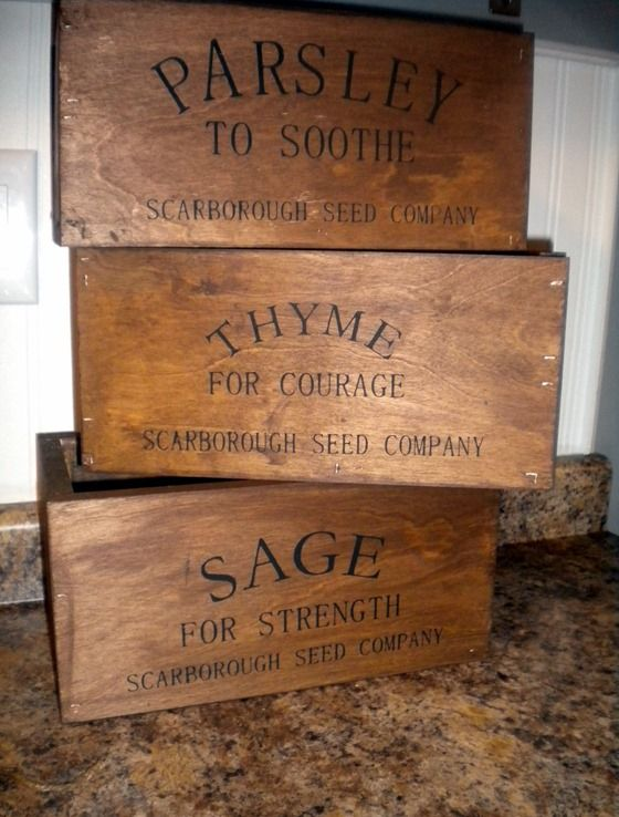 Rustic herb crates...note to self...find old crates at auctions..apply these words and finish to look old.