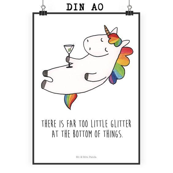 poster din a0 unicorn cocktail mit spruch aus papier 160 gramm wei das original von mr mrs. Black Bedroom Furniture Sets. Home Design Ideas
