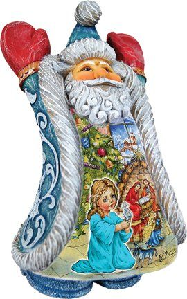 G. Debrekht Christmas Night Greeting's Santa. #SantaClaus #Santa #Claus #Christmas  #Figurine #Decor #Gift #gosstudio .★ We recommend Gift Shop: http://www.zazzle.com/vintagestylestudio ★