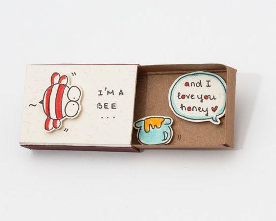 """Lustige süße Liebe Karte Jubiläum Card """"Ich liebe dich Honey"""" Matchbox /Gift Kasten / Message box """"I 'm a Bee"""""""