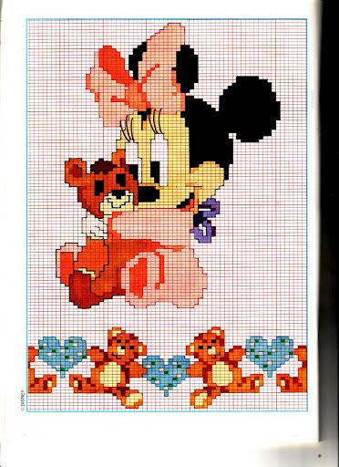 Disney baby minni orsacchiotto punto for Schemi gratis punto croce disney