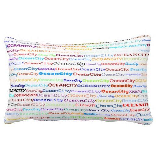 Ocean City Text Design II Lumbar Pillow