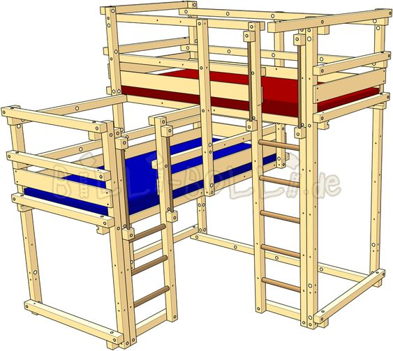"Bunk bed with both beds ""on top"""