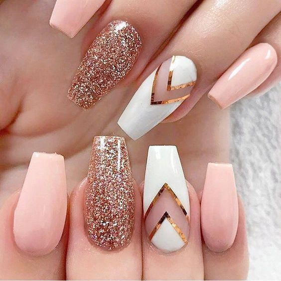 56 Stylish Acrylic Coffin Nail Designs And Colors For Spring Rose Gold Nails Glitter Gold Glitter Nails Rose Gold Nails