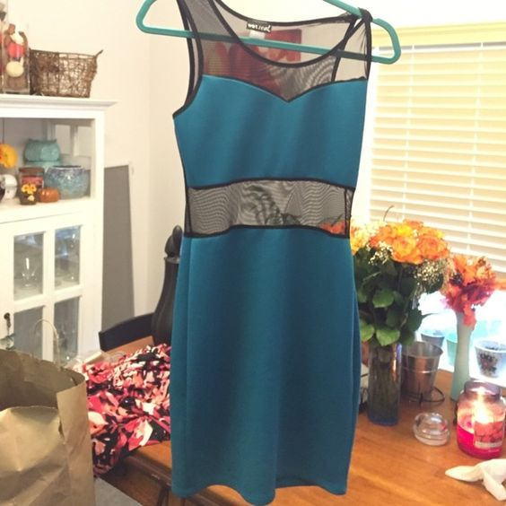 Teal & black short dress Fun dress for going out on the town :) Wet Seal Dresses