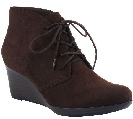 Product image of Clarks Bendables Wedge Suede Ankle Boots - Crystal Peridot