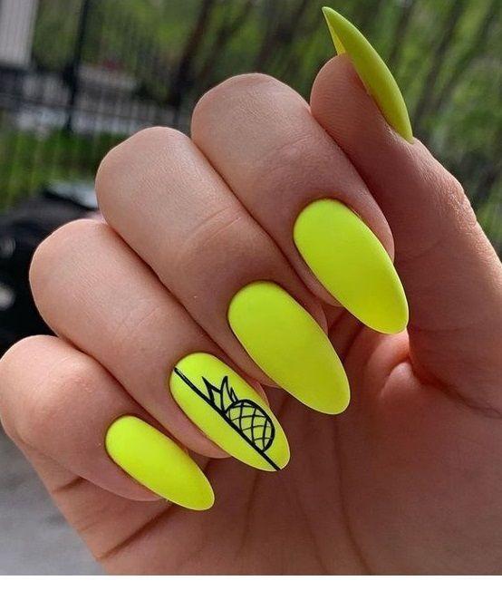 Nice Neon Yellow Gel Nails Con Imagenes Unas De Neon Manicura