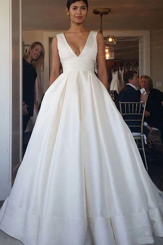 V Back Wedding Dress A Line V Neckline Wedding Dress From Sancta Sophia Preppy Wedding Dress