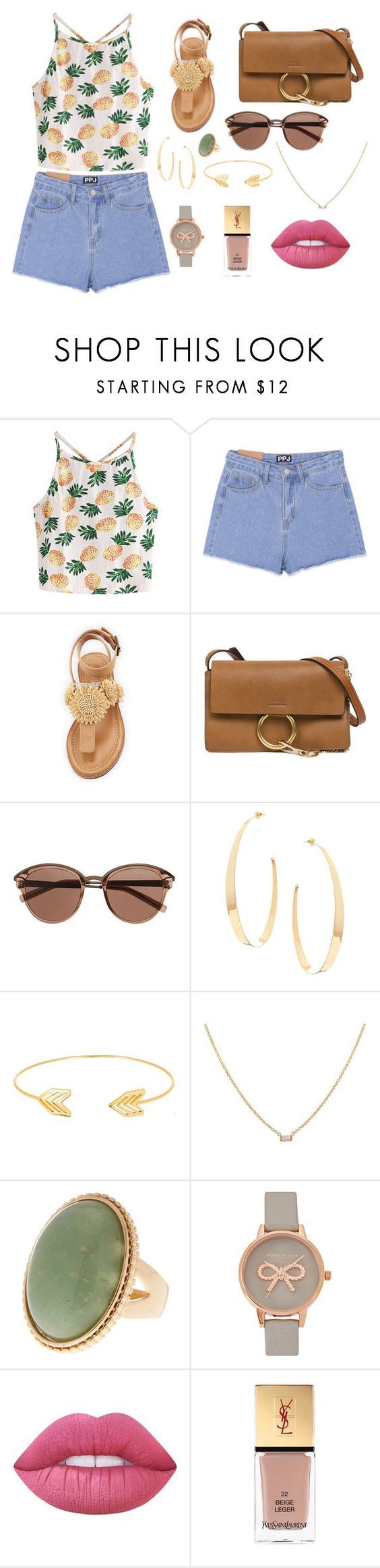 """Untitled #9"" by soninha97 on Polyvore featuring WithChic, Bettye, Chloé, Witchery, Lana, Lord & Taylor, Olivia Burton, Lime Crime and Yves Saint Laurent"