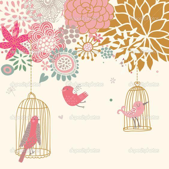 uccelli in gabbia. cartone animato sfondo floreale in vettoriale. concetto di primavera - Illustrazione Stock: 25058001