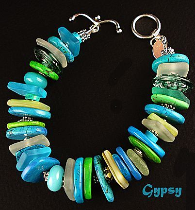 The Color of Water - Bracelet of Sea Glass, Gemstones, Lampwork beads and sterling - on Ruby Lane
