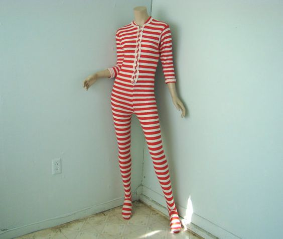 Striped Footy Pajamas Red & White Terry 1970's by ReluctantDamsel