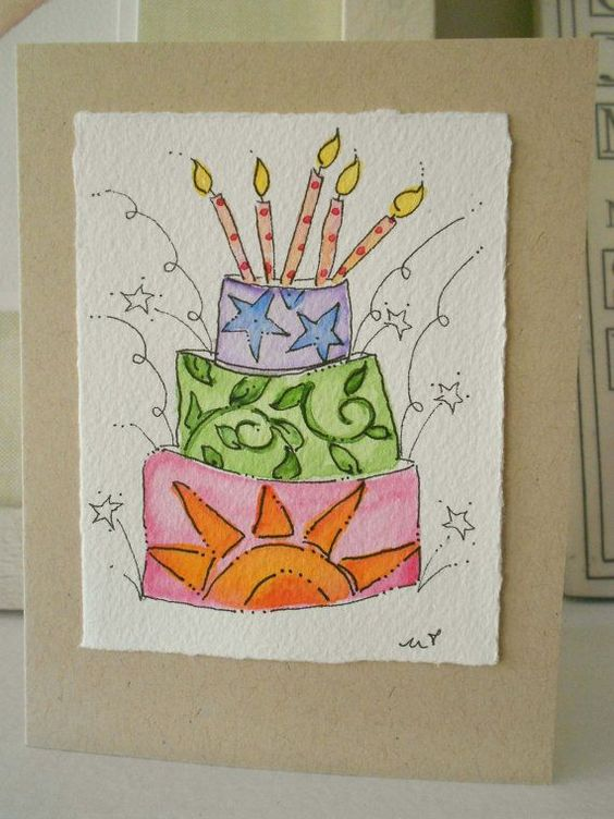 watercolor birthday card idea – Birthday Card Drawing Ideas