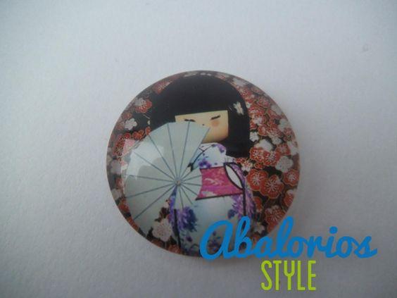 Cabuchon Geisha con abanico (CB082)