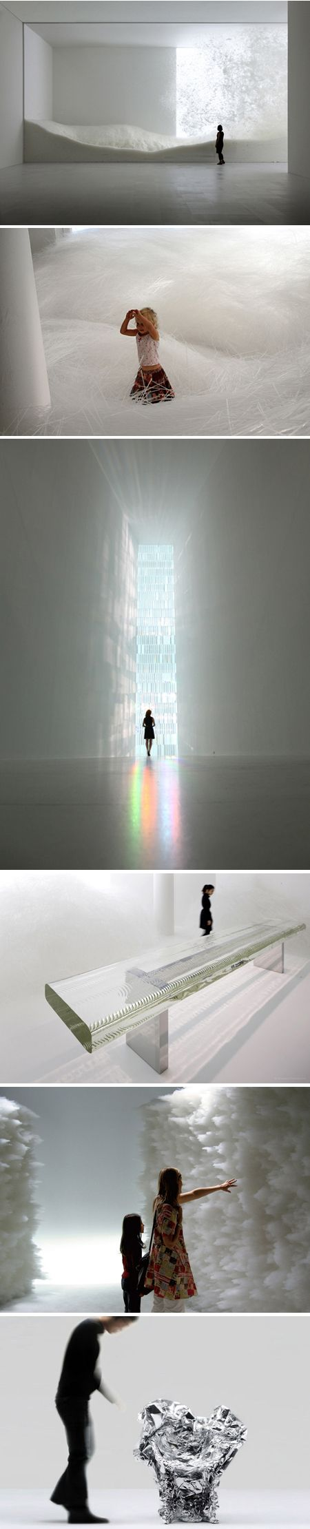 "I am in complete awe of Tokujin Yoshioka's mind and the way he talks about his pieces. He creates interiors, installations and architecture where people can feel the light with all their senses. He explores beauty born out of coincidence and beyond human imagination; his work echoes the beauty of nature with its ever-changing expression, giving the idea ""that the design doesn't even exist"".:"