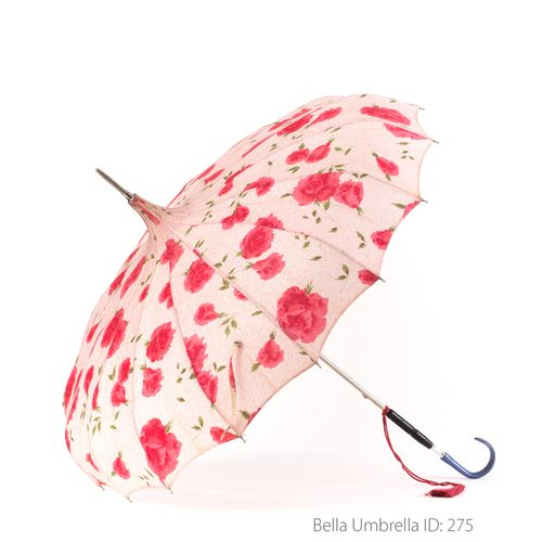 Umbrella ID 275 | Pink Pagoda with Deep Pink Flowers | Blue Hook Handle  | Bella Umbrella | Vintage Umbrella Rentals