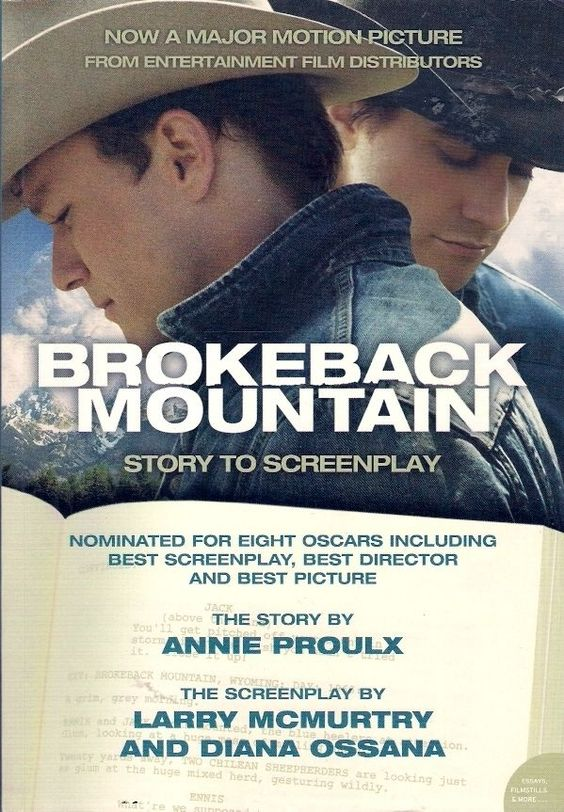 Annie Proulx BROKEBACK MOUNTAIN: STORY TO SCREENPLAY starts with the story which was later made into film. It follows 2 cowboys who fall in love with each other, have a short romance while they are out herding cattle,  then come back down the mountain  get on with their lives,  have wives  kids. One of their wives finds out what the relationship is between the 2 men,  it causes difficulties in their relationship. Next comes the screen play,  then essays from Larry McMurtry  Diana Ossana.