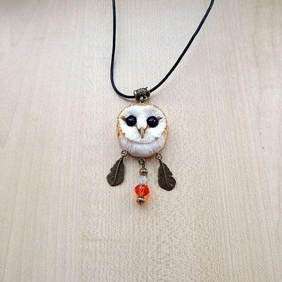 Barn-owl pendant, women's jewelry, men jewelry, animal jewelry, handmade owl, owl totem, owl pendant necklace, gift for her, barn owl totem