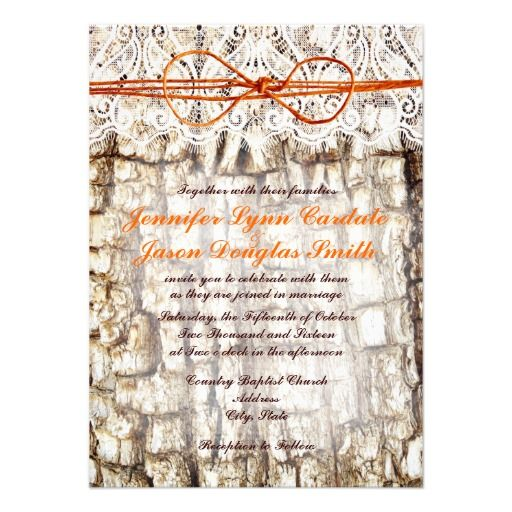 Rustic Country Camo Orange Bow Wedding Invitations