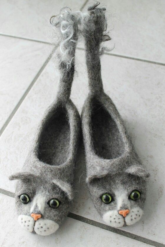 Filzschuhe Kätzchen - Cat slipper:
