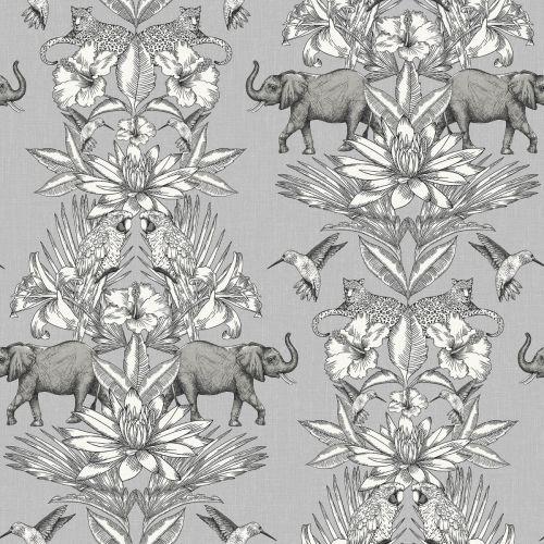 COLONIAL ELEPHANT JUNGLE WALLPAPER GREY RASCH 270426