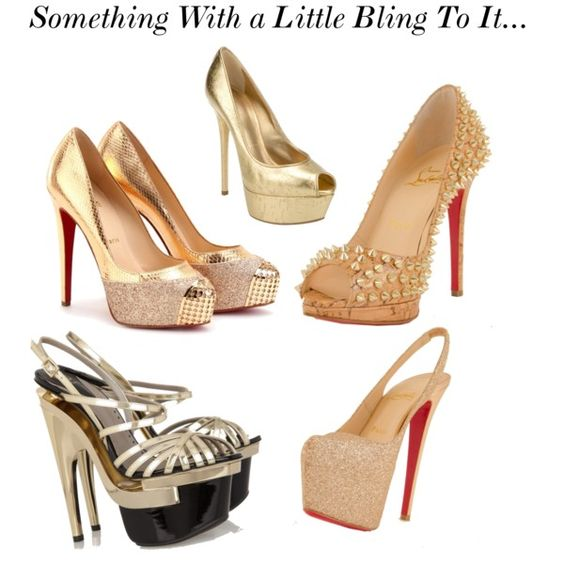 Something With a Little Bling To It..., created by #christinee279 on #polyvore. #fashion #style Christian Louboutin #Versace
