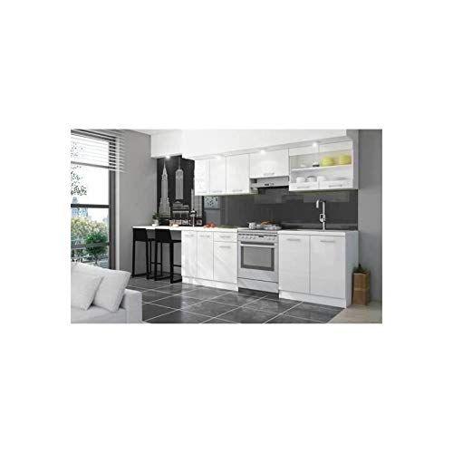 Jasny Cuisine Complete 2m40 Avec Plan De Travail Laque Blanc Cuisine Complete Cuisine Equipee Laque Blanche