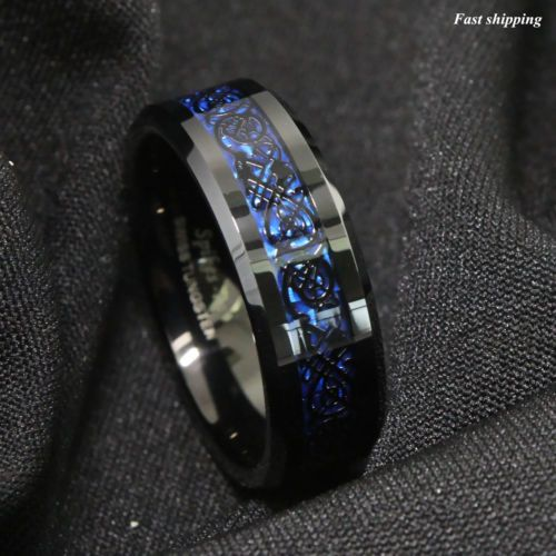 8 6mm Tungsten Carbide Ring Black Celtic Dragon Blue Carbon Fibre Atop Jewelry Ebay Mens Jewelry Rings For Men Mens Wedding Rings