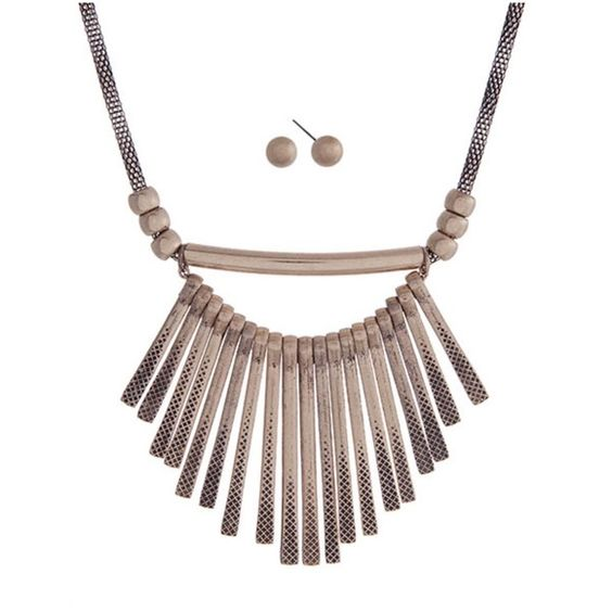 """◦Hammered Metal Fringe Statement Necklace◦ DESCRIPTION:  Gold tone necklace set with hammered metal fringe. Approximately 18"""" in length. Janis Marie  Jewelry Necklaces"""