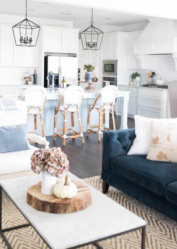 velvet sofa in farmhouse living room