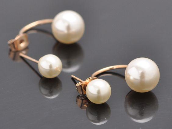 Luxus Ohrringe Ohrstecker doppelt Perlen Schmuck Perlenohrringe Gold Mode Damen…