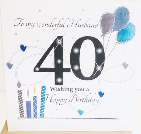 Large Happy 40th Birthday Card Husband 8 25 X 8 25 Inches