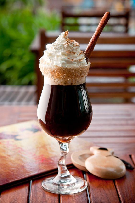 Spanish Coffee 1/2 shot rum 1 shot Kahlua coffee liqueur 1 splash triple sec Top with coffee Add cinnamon