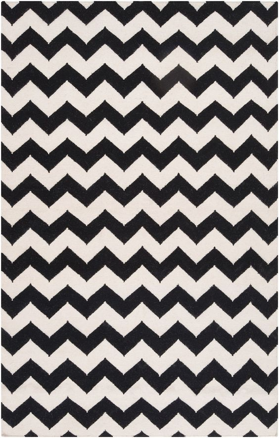 Surya's black and white chevron Frontier rug, a must-have this season.