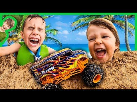 Monster Trucks And Sand Castles At The Beach Youtube Monster Trucks Sand Castle Beach